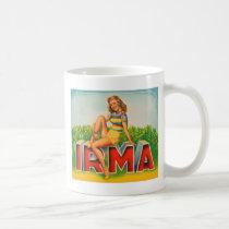 Vintage Retro Kitsch Pin Up Fruit Crate Irma Coffee Mug