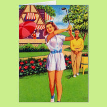 Vintage Retro Kitsch Pin Up Golfing Women Golfer Card