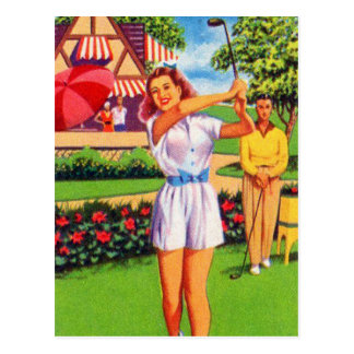 Vintage Retro Kitsch Pin Up Golfing Women Golfer Postcard