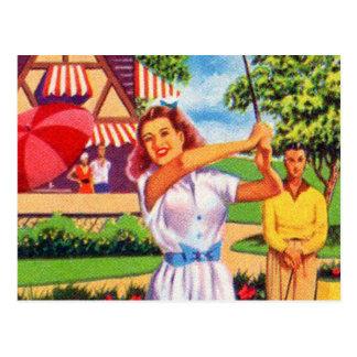 Vintage Retro Kitsch Pin Up Golfing Women Golfer Postcard