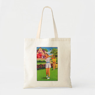 Vintage Retro Kitsch Pin Up Golfing Women Golfer Tote Bag