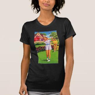 Vintage Retro Kitsch Pin Up Golfing Women Golfer Tshirts