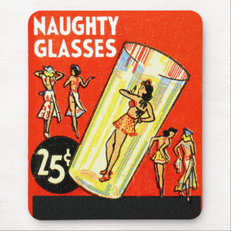 Vintage Retro Kitsch Pin Up Naughty Glasses Girls Mouse Pad