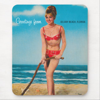 Vintage Retro Kitsch Pin Up Postcard Delray Beach Mouse Pad
