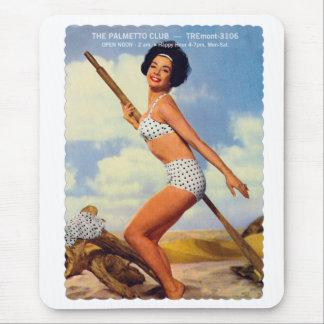 Vintage Retro Kitsch Pin Up Postcard Palmetto Club Mouse Pad