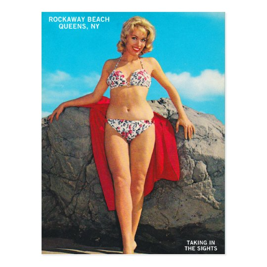 Vintage Retro Kitsch Pin Up Postcard Rockaway