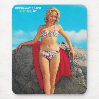 Vintage Retro Kitsch Pin Up Postcard Rockaway Mouse Pad