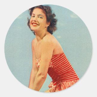Vintage Retro Kitsch Pin Up Postcard Zandvoort NL Classic Round Sticker