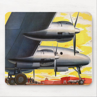 Vintage Retro Kitsch Prop Airplane 60s Airliner Mouse Pad