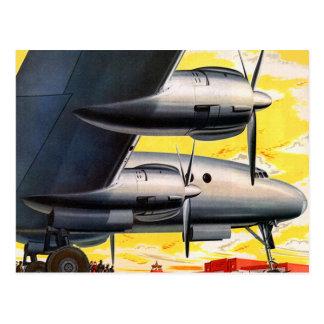 Vintage Retro Kitsch Prop Airplane 60s Airliner Postcard