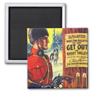 Vintage Retro Kitsch Pulp Magazine Outlaw Mountie 2 Inch Square Magnet