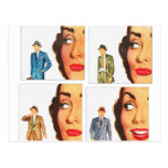 Vintage Retro Kitsch Romance Natural Selection Postcards