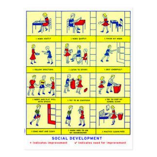 Vintage Retro Kitsch School Social Development Postcard