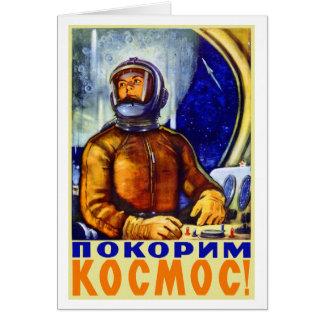 Vintage Retro Kitsch Soviet Cosmonaut Greeting Card