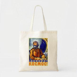 Vintage Retro Kitsch Soviet Cosmonaut Tote Bag