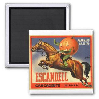 Vintage Retro Kitsch Spanish Oranges Fruit Label Magnet
