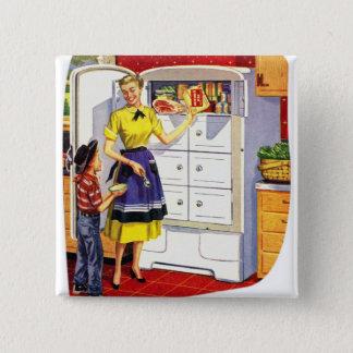 Vintage Retro Kitsch Suburbs Food Stuffed Fridge Button