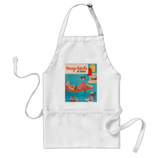 Vintage Retro Kitsch Suburbs Young Adults at Home Adult Apron