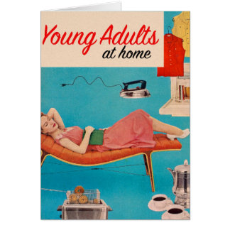 Vintage Retro Kitsch Suburbs Young Adults at Home Card