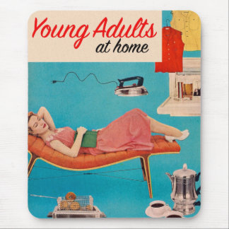 Vintage Retro Kitsch Suburbs Young Adults at Home Mouse Pad