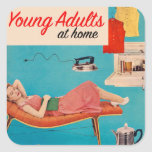 Vintage Retro Kitsch Suburbs Young Adults at Home Square Sticker