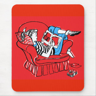 Vintage Retro Kitsch Teenager Teen Girl Mouse Pad