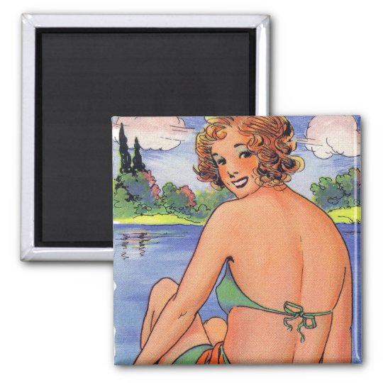 Vintage Retro Kitsch Thrilled To See you Back Card Magnet