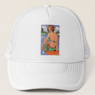 Vintage Retro Kitsch Thrilled To See you Back Card Trucker Hat