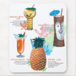 Vintage Retro Kitsch Tiki Cocktails Menu Mouse Pad