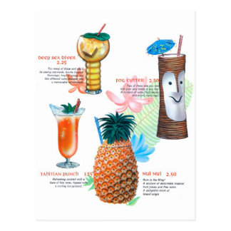 Vintage Retro Kitsch Tiki Cocktails Menu Postcard