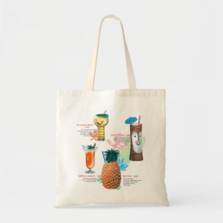 Vintage Retro Kitsch Tiki Cocktails Menu Tote Bag