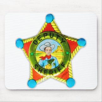 Vintage Retro Kitsch Tin Badge Deputy Sheriff Mouse Pad