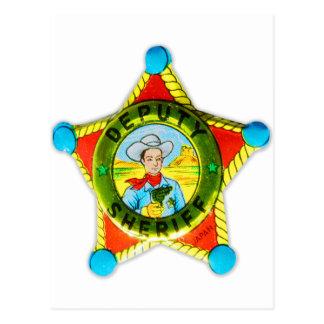 Vintage Retro Kitsch Tin Badge Deputy Sheriff Postcard