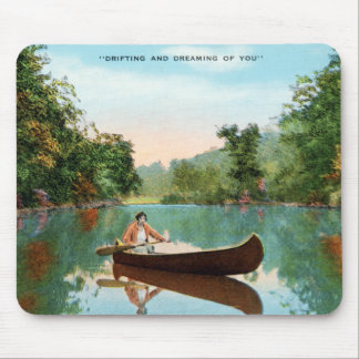 Vintage Retro Kitsch Travel Post Card Canoe Mouse Pad