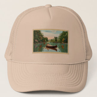 Vintage Retro Kitsch Travel Post Card Canoe Trucker Hat