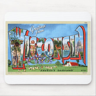 Vintage Retro Kitsch Travel Post Card Wisconsin Mouse Pad