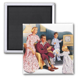 Vintage Retro Kitsch TV Original Family Hour 2 Inch Square Magnet