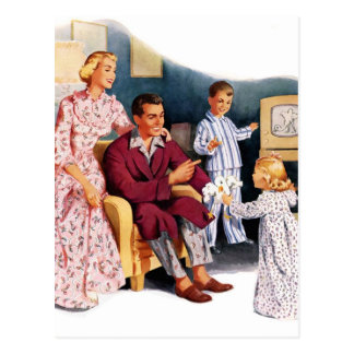 Vintage Retro Kitsch TV Original Family Hour Postcard