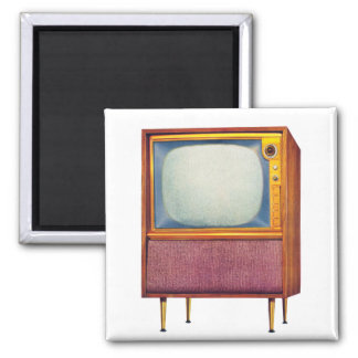 Vintage Retro Kitsch TV Television Set 2 Inch Square Magnet
