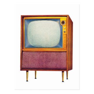 Vintage Retro Kitsch TV Television Set Postcard