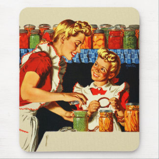 Vintage Retro Kitsch War Poster Canning Mom & Girl Mouse Pad