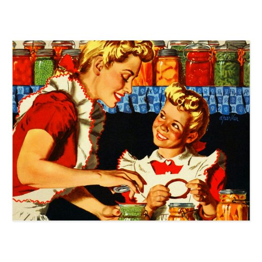 Vintage Retro Kitsch War Poster Canning Mom & Girl Post Card