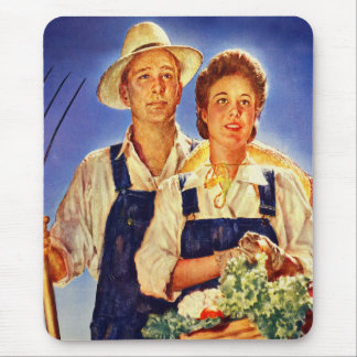 Vintage Retro Kitsch War Poster Mr & Mrs Farmers Mouse Pad