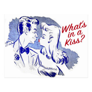 Vintage Retro Kitsch What's In A Kiss? Postcard