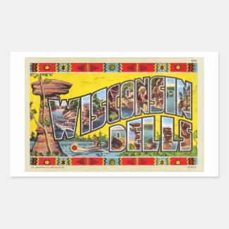 Vintage Retro Kitsch Wisconsin Dells Postcard Rectangular Sticker