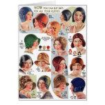Vintage Retro Kitsch Women 20s Women's Hats Ad Cards