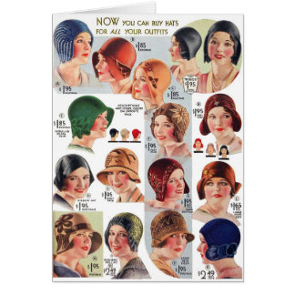 Vintage Retro Kitsch Women 20s Women's Hats Ad Card