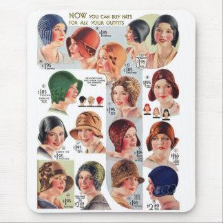 Vintage Retro Kitsch Women 20s Women's Hats Ad Mouse Pad