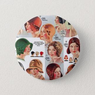 Vintage Retro Kitsch Women 20s Women's Hats Ad Pinback Button