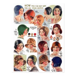 Vintage Retro Kitsch Women 20s Women's Hats Ad Postcard
